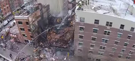 image from drone over burning building